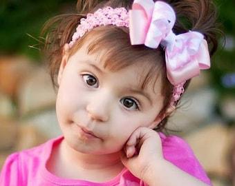 Boutique Bow, Pink Bow, Baby Headband, Baby Bow, Pink Chevron, Girls Headband, Girls Bow, Girls Hair Clip, Baby Girl, Girls, Headband, Bow