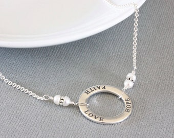Faith Hope Love Necklace, Silver Statement Necklace, Sterling Silver Chain Necklace, Engraved Jewelry, Christian Jewelry for Women