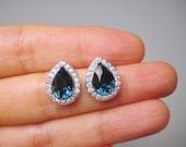 Montana Blue Teardrop Stud Earrings Navy Blue Earrings Swarovski Rhinestone Crystal Bridesmaids Gift White Gold Earrings Wedding Jewelry