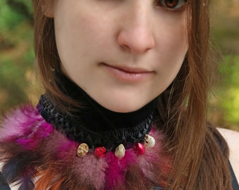 READY TO SHIP - voodoo collar choker renaissance pink skull neck corset white black victorian steampunk magic ritual pagan