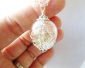 Dandelion Seed Wishing Orb Terrarium Necklace In Silver or Bronze, Bridesmaid Gift, Stocking Stuffer