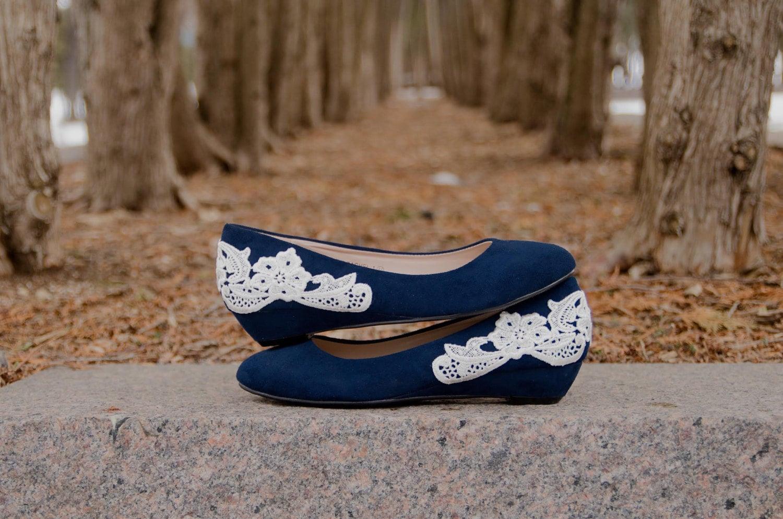 Wedding Shoes Navy Blue Wedges Wedding Heels Bridal By