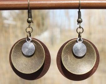 Copper Earrings Mixed Metal Earrings Jewelry Dangle earrings Drop Earrings Boho Earrings Copper Brass Silver Earrings Birthday Gift For Her