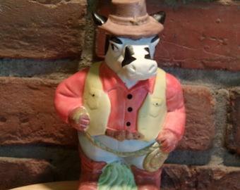 Rare Cow Cowboy Piggy Bank, Cowboy piggy bank, Western piggy bank, Farmhouse décor, cow coin bank