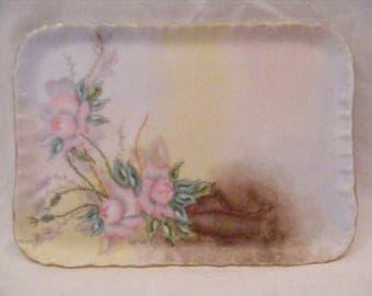 Porcelain Vanity Tray Handpainted Pink Flowers