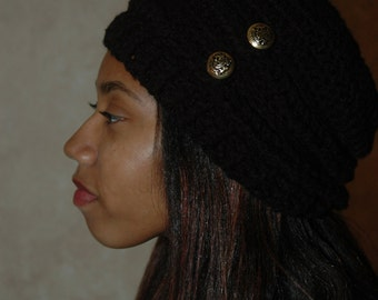 Black Crochet Hat with Gold Buttons