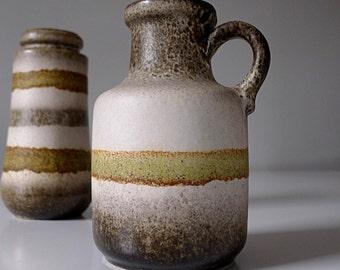 Scheurich West Germany Fat Lava Ceramic Vase 414-16 - Mid Century Modern German Pottery Vintage Green