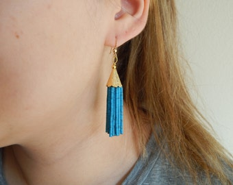Blue marbled tassel earrings, beaded tassel earrings, mini tassels, long chandelier earrings, statement jewelry, blue earrings
