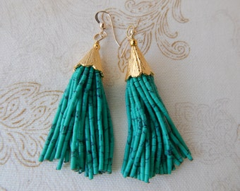 Green beaded tassel earrings, mini tassels, chandelier earrings, statement jewelry, dangle earrings, seed bead, boho style
