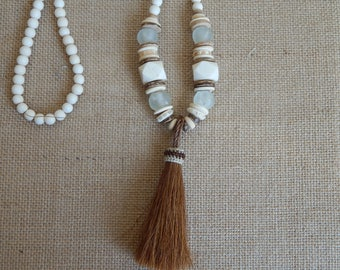 White wood bead necklace with white recycled glass beads, bone beads and horse hair tassel,beach chic, beach boho necklace, neutral