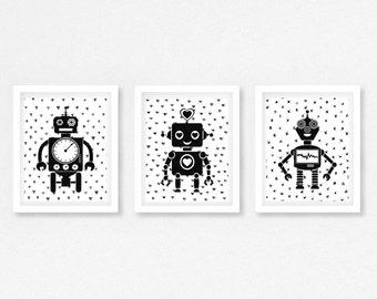 Robot Bedroom Wall Art, Robot Nursery Decor, Robot Nursery Prints, Robot Print, Black and White Print, Monochrome Nursery, Modern Nursery