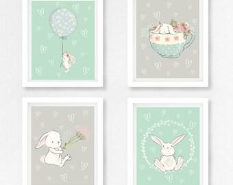 Rabbit Nursery Art, Bunny Nursery Decor, Mint Nursery Decor, Gender Neutral Baby Shower Gift, Mint Nursery Wall Art, Bunny Print, New Baby