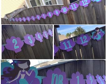 Mermaid Newborn Banner, Monthly Banner, 1-12 Month Banner, Mermaid Birthday Banner, Mermaid 1st Birthday, Mermaid Party, Mermaid Birthday