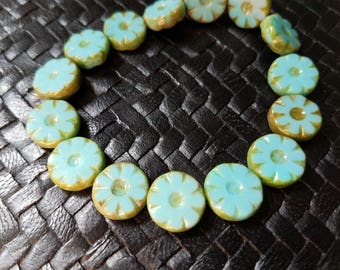 Czech Glass Turquoise Picasso Flower Beads - 12mm  Gorgeous!