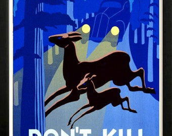 Dont Kill Wildlife National Park Service Retro poster 1930s Custom Framed A+ Quality