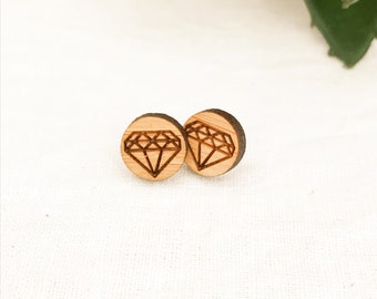 Earrings studs wood circles with diamond geometric design bamboo plywood and hypoallergenic surgical steel stud backing with butterfly clasp