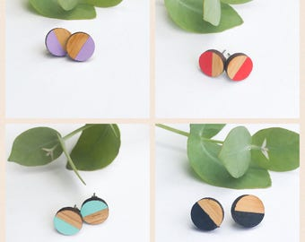 Earrings studs wood circle half colour half wood dip died bamboo plywood and hypoallergenic surgical steel stud backing with butterfly clasp