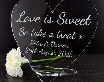 Love Is Sweet - Personalised Wedding Heart Sweet Buffet Candy Bar Sign