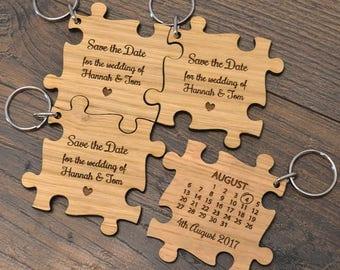 Deluxe Eiche Hölzerne Puzzlestück Geformte Hochzeit Sparen Das Datum  Einladungen