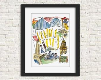 Kansas City, Missouri City Illustration Wall Art Print 8 x 10