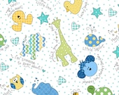 Little One Flannel Too! Tossed Little Ones fabric in Blue, Green,  Yellow-fat quarters and yardage-by Kimberbell Designs for Maywood Fabric