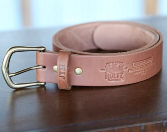 No. 102 Fine Leather Belt in Brown – Personalized Custom Belt – with Secret Message – Rounded Brass Buckle