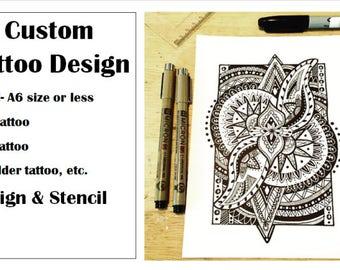 Custom Tattoo Design- Small A6 size or less- Design and Stencil - Arm, calf, shoulder tattoo, etc