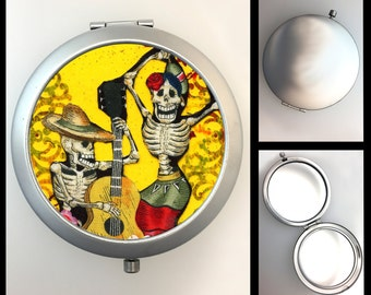 Compact Mirror Day of the Dead Skeleton Musicians