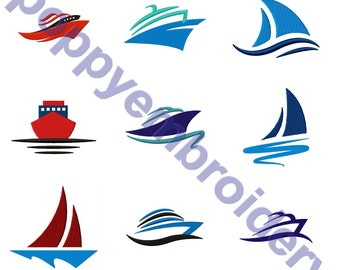 BOAT Design for Embroidery machine/ bateau motifs pour broderie machine / instant download