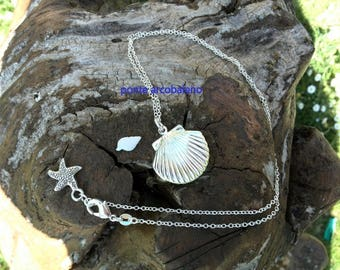 Pendant frame necklace/ shell pendant/locket/ silver plated/ jewelry/ starfish/ gift/ anniversary/ summer/ sea