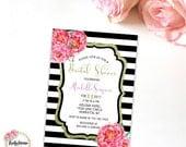Black and White Stripe Bridal Shower Invitation Invite Gold Glitter Pink Peony Floral Printable Digital