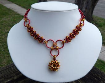 """Chainmaille """" Fire Goddess """" Costume Whirlybird Pendant Necklace - Red, Orange and Yellow"""