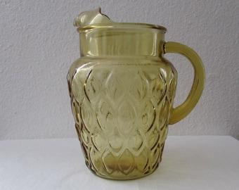 17-0517 Vintage 1970's Amber Glass Pitcher / Water Pitcher / Lemonade Pitcher / Glass Pitcher / Possibly Libby's or Anchor Hocking