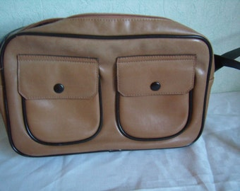 Handbag, bag, Tote, shoulder strap, leather, beige, Vintage 1980