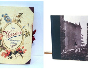 Set of 2 Photo Albums / vintage picture books cutout covers crafting Italian Victorian photo books