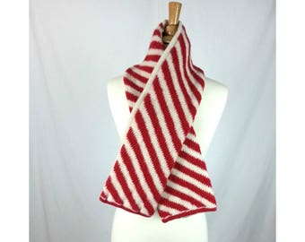 Vintage Striped Scarf Red and White / candy cane patterned shawl GAP 90's holiday scarf long winter scarf stripes diagonal stripe scarf