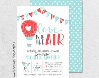 Love is in the Air, Hot Air Balloon Bridal Shower Invitation 1, Digital & Customizeable