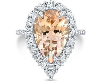 4.50 Ct. Pear Cut Halo Morganite & Diamond Engagement Ring 14K White Gold