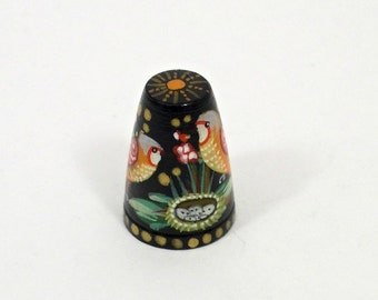 Russian Lacquer Hand Painted Thimble BIRDS #1415