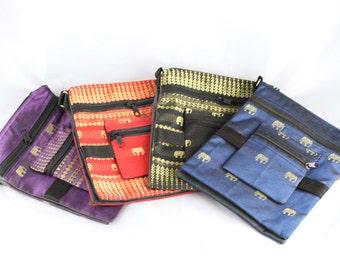 Elephant Shoulder Bag- Adjustable Strap- Small Travel Bag- Passport Bag- Handbag