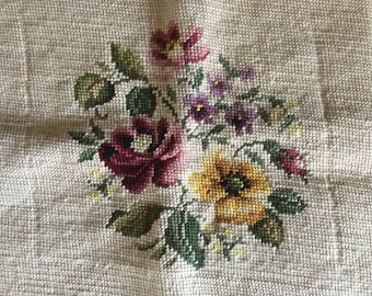 Vintage Completed Floral Needlepoint Wool Yarn on Bucilla Fabric Embroidery Cottage Decor Needlework