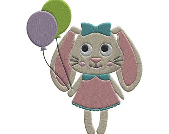 Bunny with Balloons Embroidery Design - 8 Sizes 10 Formats PES Easter Machine Embroidery Design Birthday Embroidery Design Instant Download