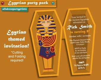 Instant Download- Egyptian themed Invitation (Sarcophagus style) -Invitation Only