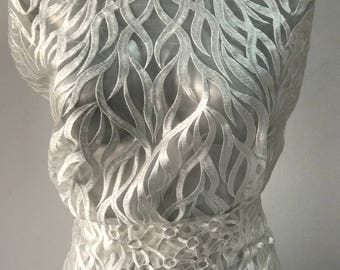 Off White Ivory bridal lace fabric embroidered tulle Abstract and Baroque design bridal latest fashion trend in bridal lace