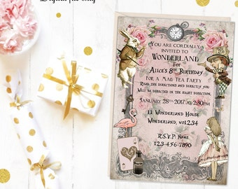 Digital Floral Personalised Alice in Wonderland Invitations - Printable,Download,Party,Birthday,Tea Party,Baby Shower