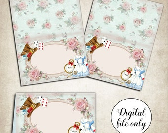 Digital Alice in Wonderland Blank Tent Cards - Name Place Cards - Tea Party,Birthday,Wedding,DIY,Download,