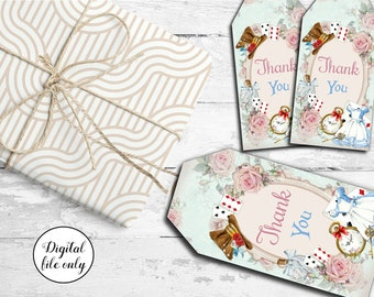 10 Digital Vintage Alice in Wonderland Thank You Tags,Toppers,Cards,Gifts,Party Favors,Wedding,Birthday,
