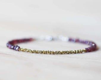 Delicate Mystic Garnet Bracelet with Hill Tribe Brass Stick Beads, Beaded Garnet Bracelet, Brass and Red Gemstone Bracelet