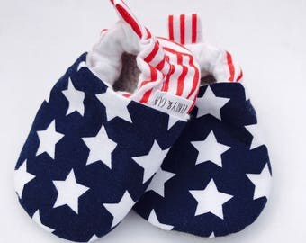 USA Baby Shoes, Patriotic Baby Shoes, Independence Day Baby Slippers, Fourth of July, Soft Sole Baby Shoes, Baby Moccasins, Baby Booties