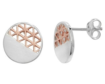 Two Tone Silver and Rose Gold Geometric Earrings